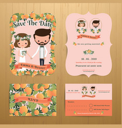 Orange orchard theme wedding couple bride amp vector