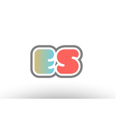 Orange pastel blue alphabet letter es e s logo vector