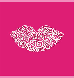ornamental lips of stylized lips vector image