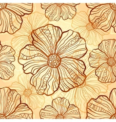 Ornate poppies seamless pattern vector image