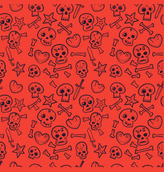 Pattern with skulls hearts seamless background vector