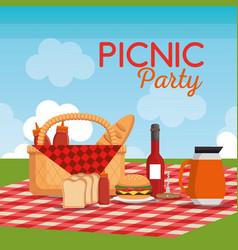 picnic party celebration scene vector image