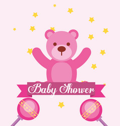 pink toy bear rattles baby shower invitation card vector image