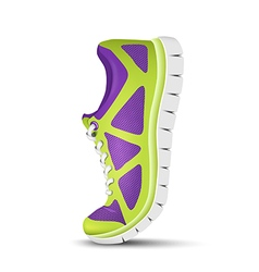 Realistic bright curved sport shoes for running vector