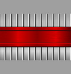 Red plate on metal brushed texture vector