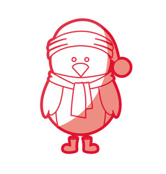 Red silhouette of chicken with boots scarf and vector