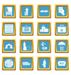 Refugees problem icons azure vector