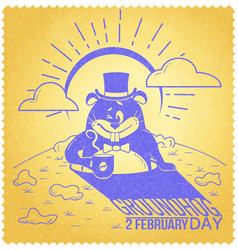 Retro happy groundhog day vector