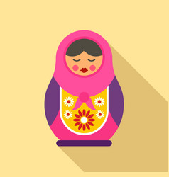 russian nesting doll icon flat style vector image