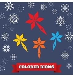 Santa staff icon Christmas symbol Colored vector