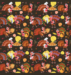 seamless pattern cartoon thanksgiving turkey vector image