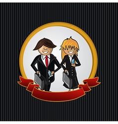 Service callcenter couple cartoon label icon vector