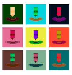 Set pixel icons of sausage with ketchup vector