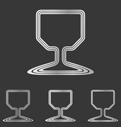Silver wine glass logo design set vector image