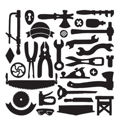 Sketched carpenter tools and symbols set vector