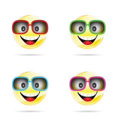 Smiley with sunglasses in four colors vector