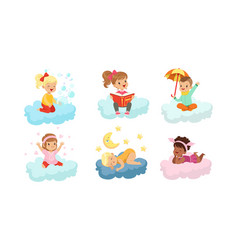 Smiling kids sitting on clouds and doing different vector