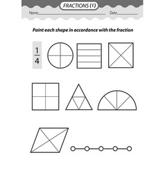 solve examples and color fractions vector image