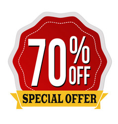 special offer 70 off label or sticker vector image