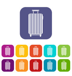Suitcase on wheels icons set flat vector