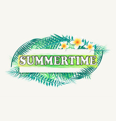 Summertime banner frame for text green palm tree vector