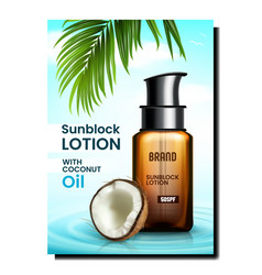 Sunblock lotion creative promotional banner vector