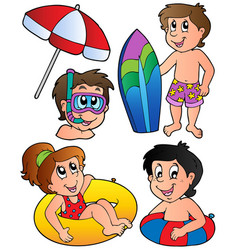 swimming kids collection vector image