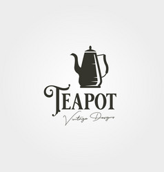 teapot vintage logo label design stainless steel vector image