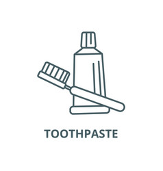 teeth brush toothpaste line icon linear vector image