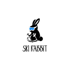 template icon rabbit on ski vector image