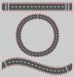 Top view race roads composition vector