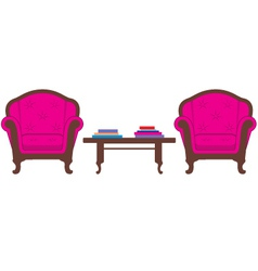 Two chairs and table vector