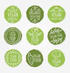 vegan and organic food set vector image