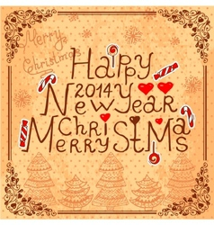 Vintage new year card vector