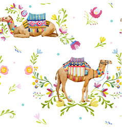watercolor camel pattern vector image