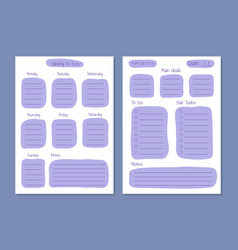 weekly and daily planner layout template paper vector image