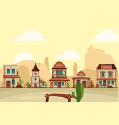 wild west town old western architectural elements vector image