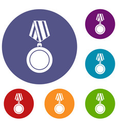 winning medal icons set vector image