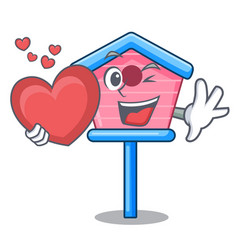 with heart wooden bird house on a pole cartoon vector image