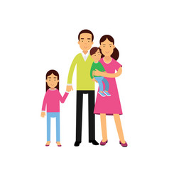 young parents standing with their two kids happy vector image vector image