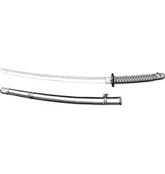 Japanese katana and scabbard vector image