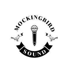 mockingbird sound logo with microphone vector image