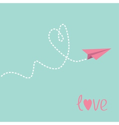 Origami paper plane Dash heart in the sky Love car vector image vector image