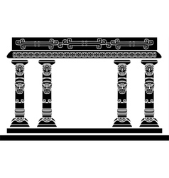 American Indian temple columns with ritual masks vector image vector image
