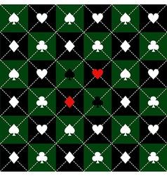 Card suits green black chess board diamond vector