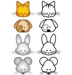 cartoon pet animals set vector image vector image