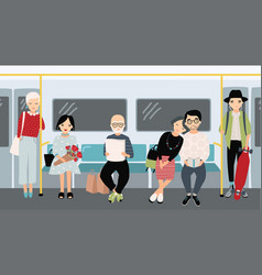 different people at subway trendy young girls and vector image vector image