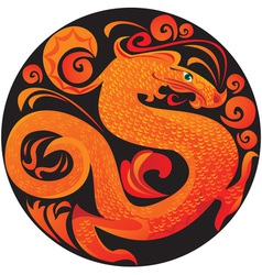 Dragon in circle vector