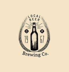 kraft beer bottle logo old brewery icon vector image