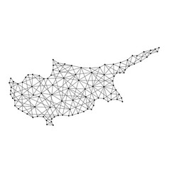 map of cyprus from polygonal black lines vector image